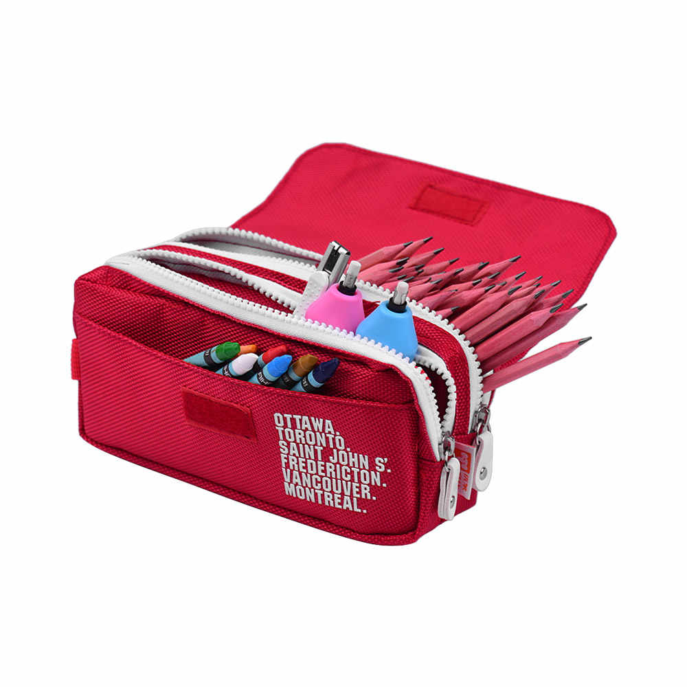 Large Capacity Pencil Cases Canvas Pen Pouch Durable Stationary Organizer Bag with Double Zippers for Pens Pencils Markers