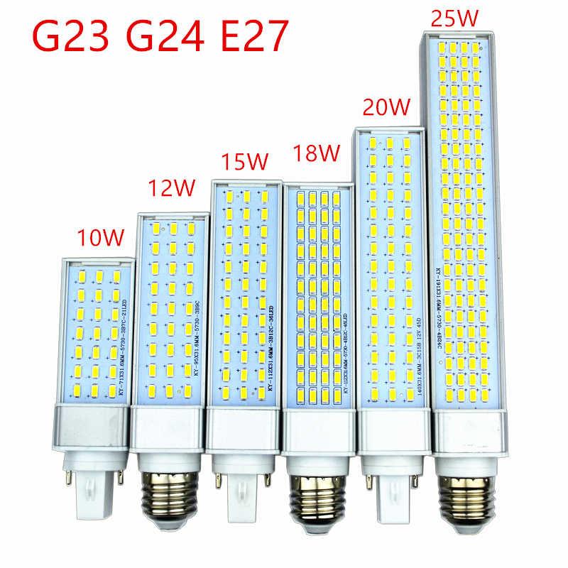 10 W 12 W 15 W 18 W 20 W 25 W E27 G24 G23 LED תירס הנורה מנורת אור SMD 5730/5630 זרקור 180 תואר AC85-265V אופקי Plug אור