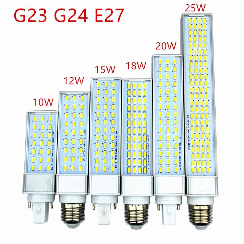 10 Вт, 12 Вт, 15 Вт, 18 Вт, 20 Вт, 25 Вт, E27, G24, G23, светодиодный светильник-кукуруза, SMD 5730/5630, точечный светильник, угол 180 градусов, горизонтальный штеке...
