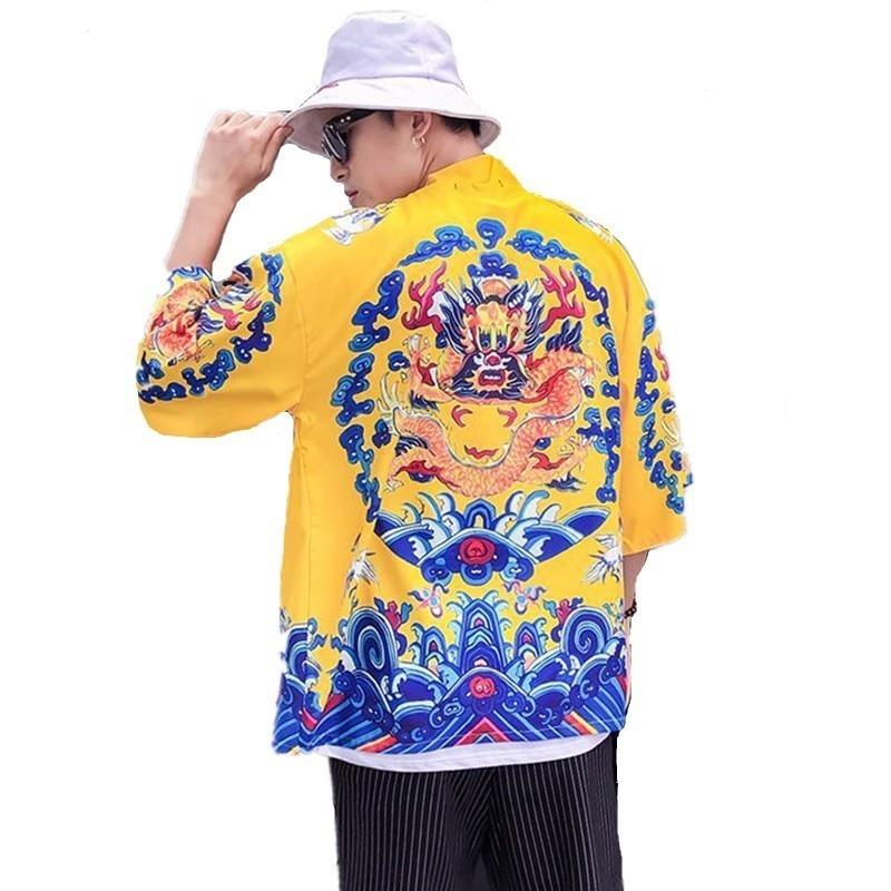 Chinese Emperor Style Summer Hawaiian Shirt Men Half Sleeves Beach Seaside Open Stitch Shirts Dragon Printed Casual Chemise XXL