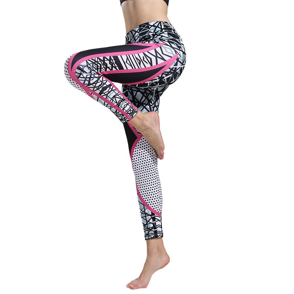 2019 Mode Digitaldruck Fitness Hosen Geometrische Hohe Taille Hüfte Yoga Hosen Leggings Tropf-Trocken