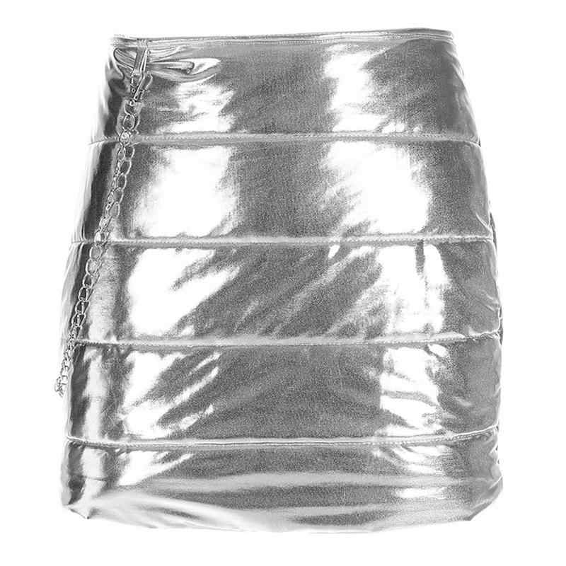 80015997d Silver Bright Mini Dress Skirts Women Winter Warm Down Cotton Padded Short  Bread Style Autumn Fashion