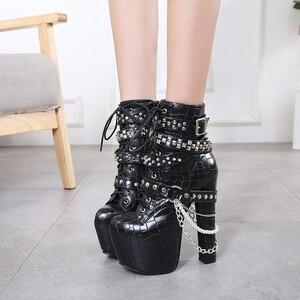 Ботинки на меху; Сезон осень; Модные ботильоны на высоком каблуке; Женские каблуки с шипами; Зимние ботинки; Обувь на платформе; Ботинки в стиле панк на толстом каблуке; LJA95