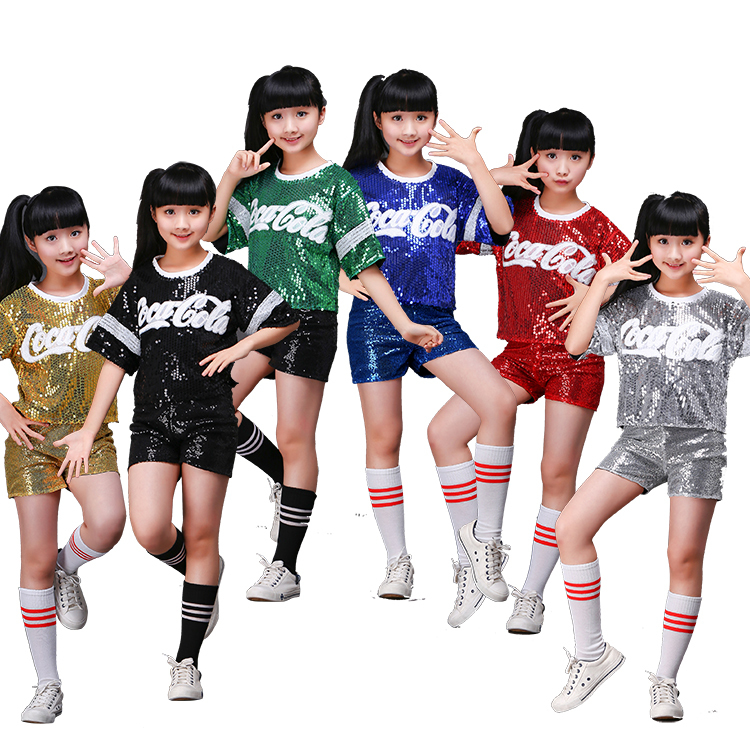 New Kids'Jazz Dance Costume Korean Edition Short Skirt Suit For Girls' Hip-hop Cheerleading Performance Costume