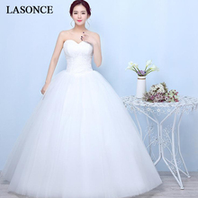 LASONCE Strapless Lace Embroidery Ball Gown Wedding Dresses Off The Shoulder Up Backless Tulle Bridal Gowns