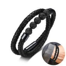 Men's Genuine Wrap Handmade Braid Leather Bracelet with Volcanic Lava Stone Beads with Magentic Clasp(China)