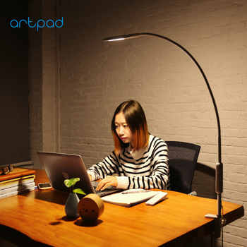 Artpad Eye Protection Long Arm Clip-on Lamp 360 Rotatable Gooseneck Touch Dimmer Work Bedroom Desktop Lamps with Remote Control - DISCOUNT ITEM  23% OFF All Category