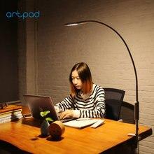 Настольная лампа Artpad, с креплением на длинную руку, вращающаяся на 360 градусов Сенсорная гусиная шея, для работы, спальни, с пультом дистанционного управления