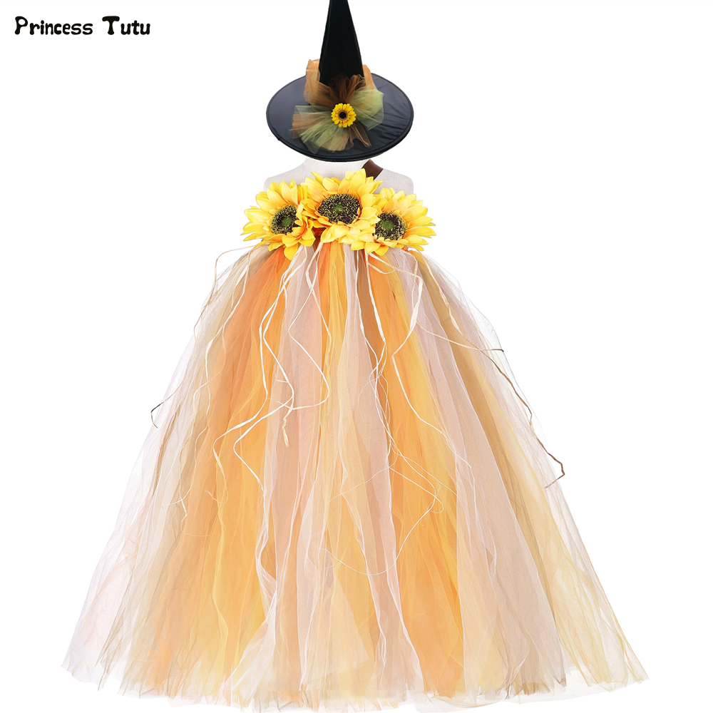 Autumn Sunflower Scarecrow Tutu Dress Kids Pumpkin Halloween Costumes for Girls Photo Prop Party Fall Themed Tulle Girls Dress 1
