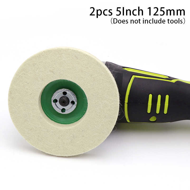 2 ชิ้น/ล็อต 5 นิ้ว 125mm Wool Felt ภาษาโปลิชคำล้อเครื่องบดมุม buffing Felt Polishing Disc สำหรับโรตารี่ขัดขัดขัดบด