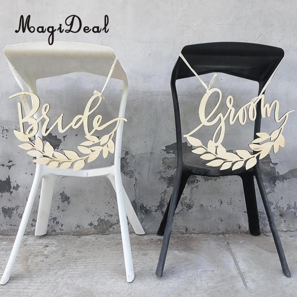 2pcs Bride Groom Leaves Wooden Chair Sign Wedding Reception And Ceremony Party Hanging Decor Photo Prop Party Diy Decorations Aliexpress