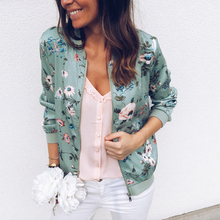 Spring Women's Jackets Retro Floral Printed Coat Female Long Sleeve Outwear Short Bomber Jacket