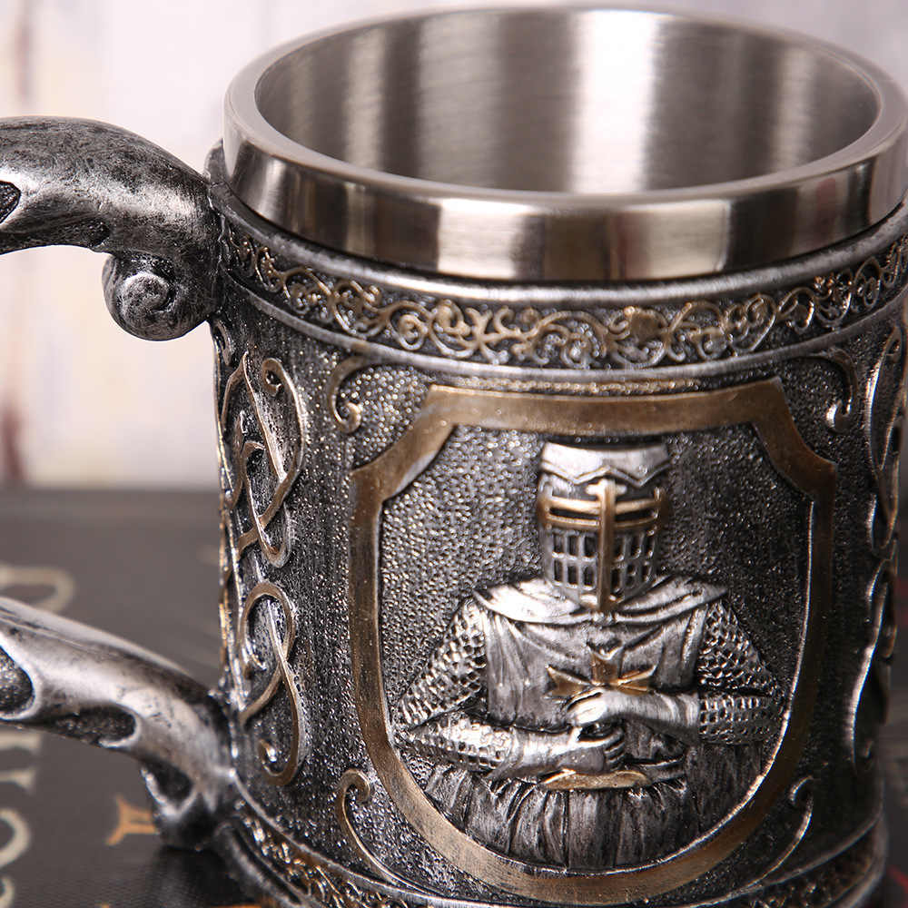 3D Relief Skull Hold Sword Knights Game Of Thrones Medieval Stainless Steel TEA Beer Stein Mug Goblet Cup Bar Club Wine Glass