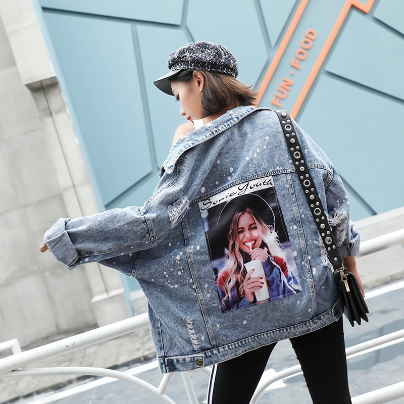 Plus Size Print Girl Korea Kpop Frayed Patch Bomber Jeans   Basic     Jacket   Women Ripped Denim Coat Female Streetwear Harajuku Autumn