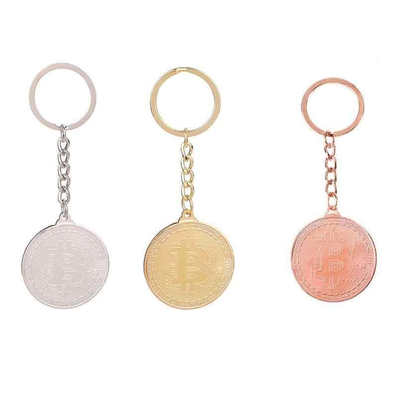 Bit moeda comemorativa chaveiro pingente redondo chaveiro simples