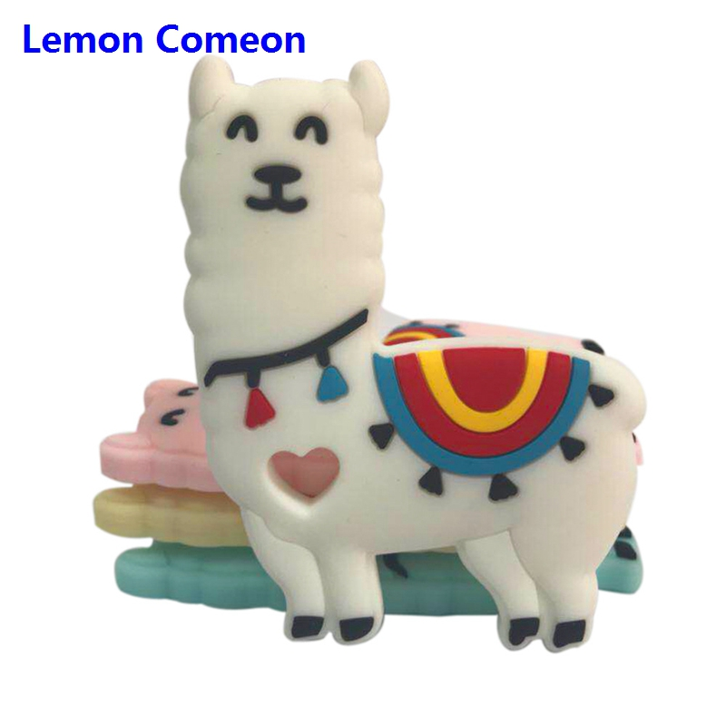 Lemon Comeon 1PC Sheep Pattern Baby Teether Silicone Teething Accessory Chew Beads DIY Pacifier Chain