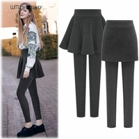 S 3XL Thicker Warm Women Winter Leggings Female Casual Outer Wear Pants Skirt Sweat Pants High Waist Leggings Fake 2 Pieces CK03