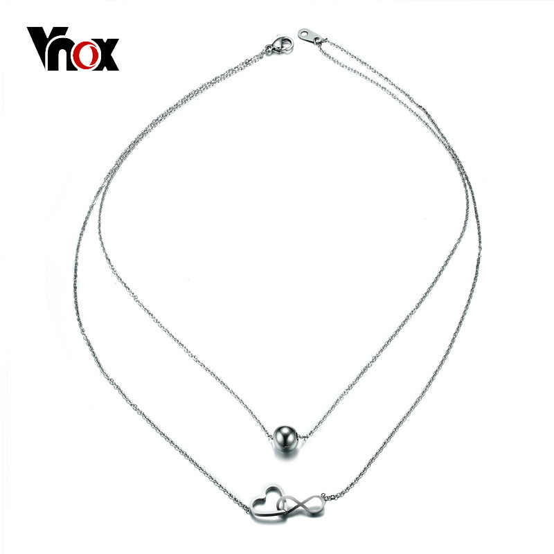 Vnox Double Layer Interlocked Heart Infinity Choker Necklace for Women Silver Color Bead Stainless Steel Jewelry Party Bijoux