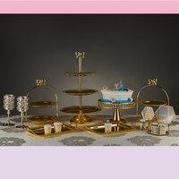 High feet cake stand Golden birthday dessert table tray Afternoon tea snack rack