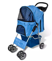 VidaXL Folding Pet Stroller Dog Cat Travel Carrier Blue Dog Supplies Pet Stroller Cat Dog Carrier For Small Pet Breathable Chair