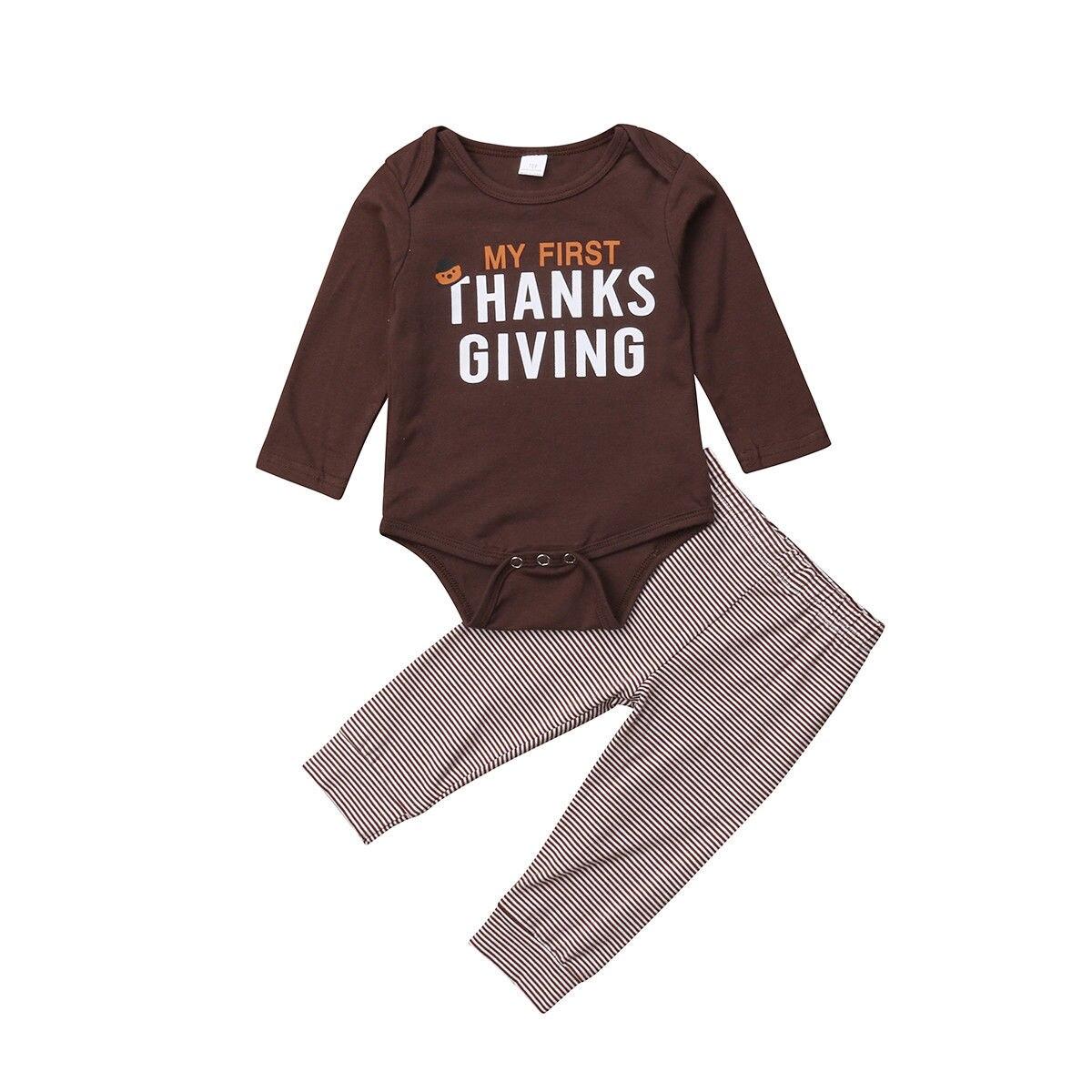 Pants Outfit 2pcs Set Toddler Baby Girl Thanksgiving Turkey Long Sleeve T-shirt