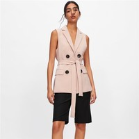 Original Brand WAISTCOAT WITH BELT V neck Sashes Featuring Front Flap Pockets Double breasted Contrast Buttons Coat Vest