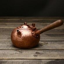 Японский чистый ручной работы утолщенный медный чайник кипения Боковая ручка Ретро фиолетовый медный чайник 450 мл