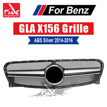 For Mercedes Benz GLA-X156 Front Grille Silver ABS GLA45 AMG GLA180 GLA200 GLA250 without central logo Front Racing Grille 14-16 for mercedes benz gla x156 front grille silver abs gla45 amg gla180 gla200 gla250 without central logo front racing grille 14 16