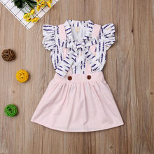 fc987756a59a 2019 New Toddler Kids Baby Girl Floral Feather Top T-shirt Ruffle Bowknot Suspender  Skirt Dress Outfits Clothes Set Summer 3M-4Y