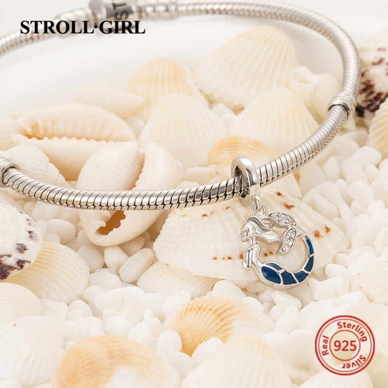 708e3a69b91 ... StrollGirl 925 silver Mermaid glowing beads pendant fit authentic European  charm bracelet diy fashion jewelry making ...