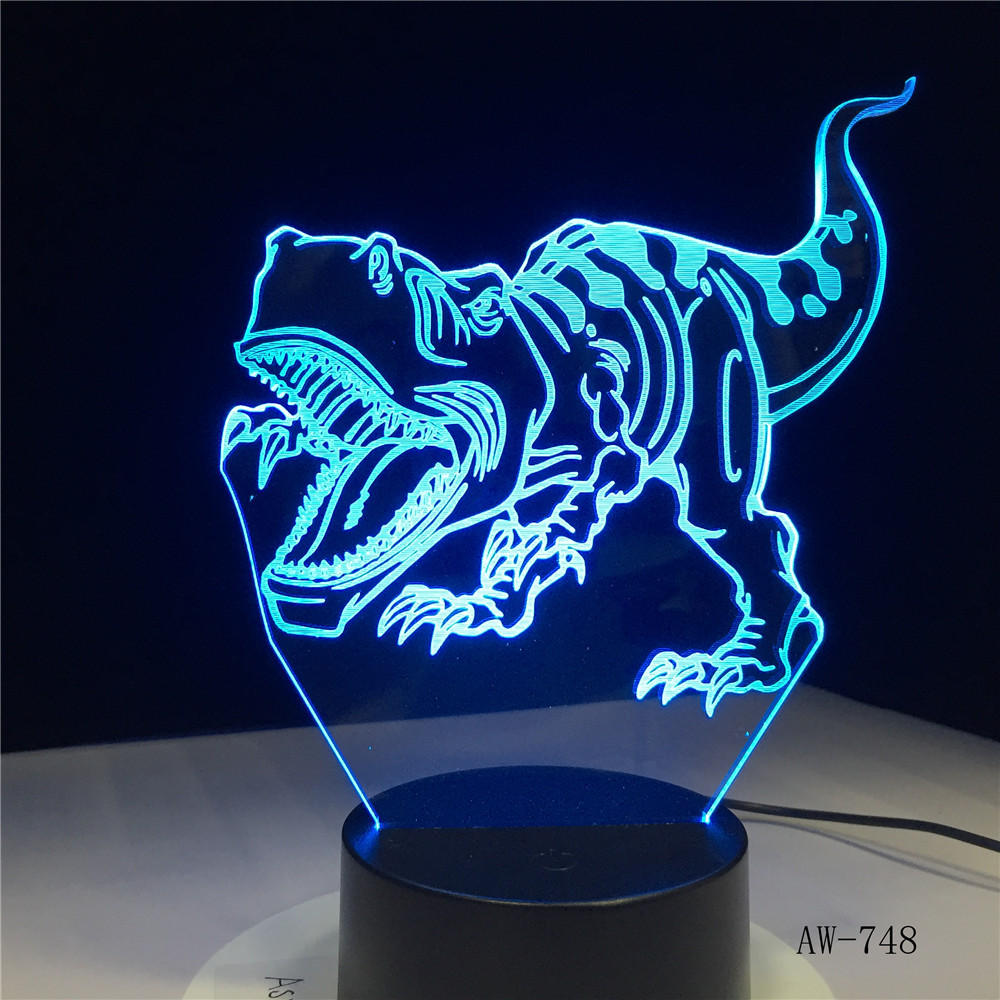 3D LED Night Lights Tyrannosaurus Rex Dinosaur with 7 Colors Light for Home Decoration Lamp Amazing Visualization Lamp AW-7483D LED Night Lights Tyrannosaurus Rex Dinosaur with 7 Colors Light for Home Decoration Lamp Amazing Visualization Lamp AW-748