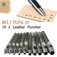 10pcs Leather Hole Punch Handmade Clothing Puncher DIY Leather Crafts Hole Maker Tool Belt Saddle Tack Watch Strap Supplies