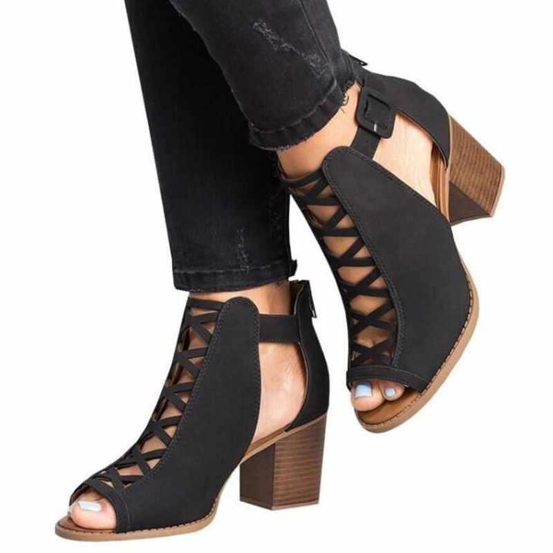 여성 샌들 2020 여름 뜨거운 패션 물고기 입 노출 된 발가락 높은 굽 여성 샌들 Romanesque 숙 녀 신발 크기 34-43