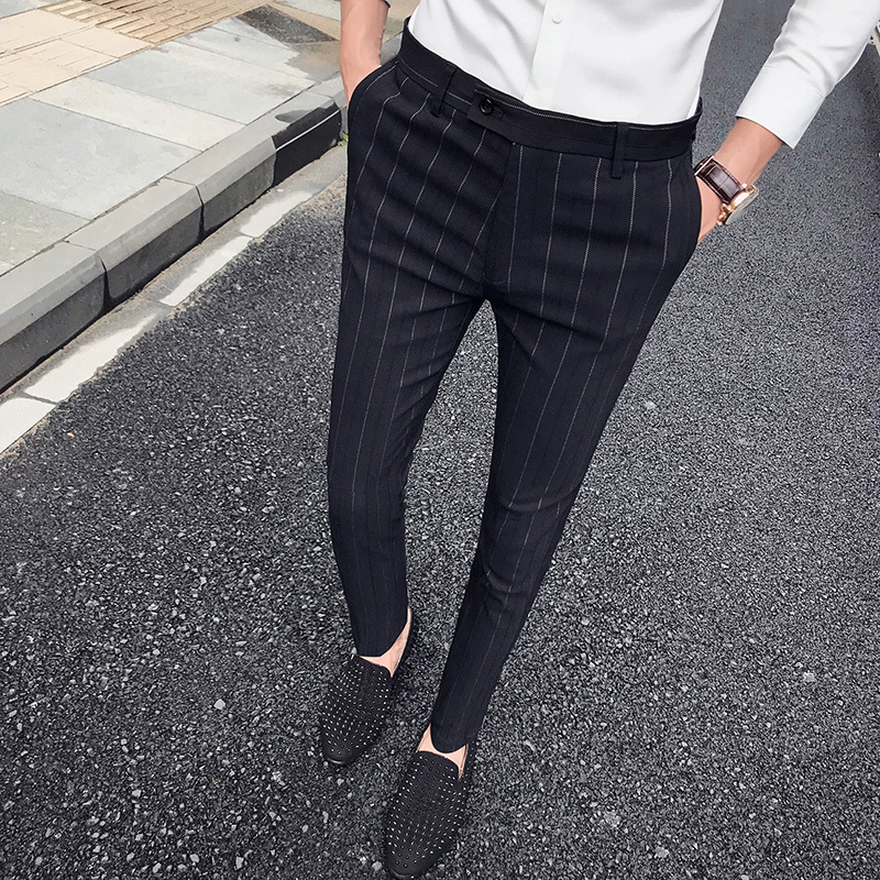 Fashion Business Casual Men Pants Slim Elegant Perfume Masculino Dress Pants 2018 New Striped Suit Trousers Mens Suit Pants