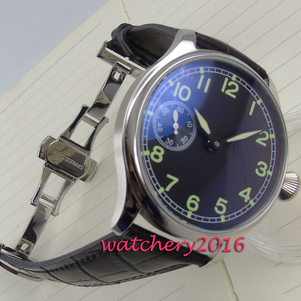 44mm Parnis black dial 6497 Hand Winding Mechanical men s watches of the famous luxury brand