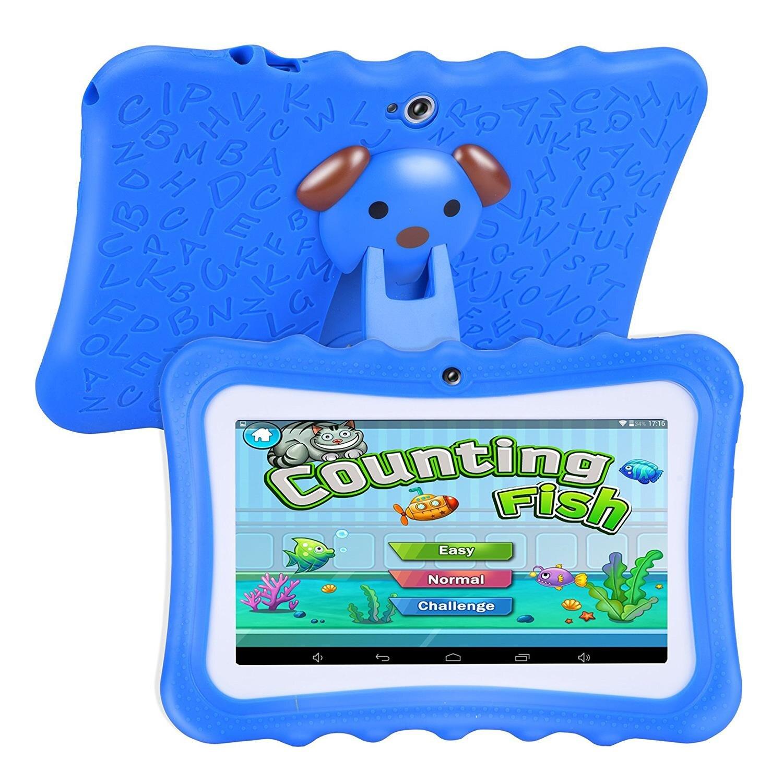 Machine d'apprentissage pour enfants tablette meilleur cadeau pour les enfants 7 pouces HD avec coque en silicone charge USB (Quad Core, 8 GB, Wifi et bleu - 5