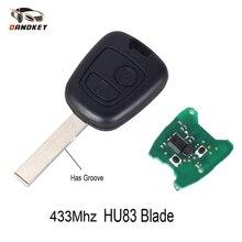Dandkey транспондер PCF7961 чип 2 кнопки дистанционного управления полный ключ для PEUGEOT 307 для Citroen C1 C3 без ключа 433 МГц HU83 ключ лезвие