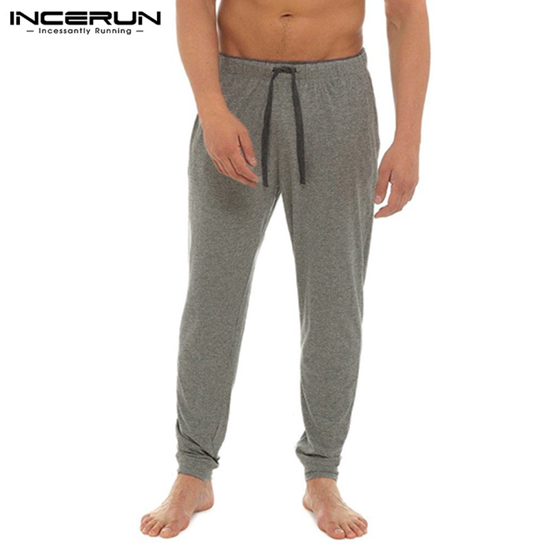 2019 INCERUN Soft Male Bottoms Mens Sleep Bottoms Lounge Pants Casual Pants Loose Pyjamas Trousers Sweatpants Pantalon Hombre