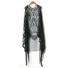 Lace Long Vest Women Summer Top Beach Boho Tassel White Waistcoat Gothic Hollow See Through Sexy Tops Black Sleeveless Outerwear(China)