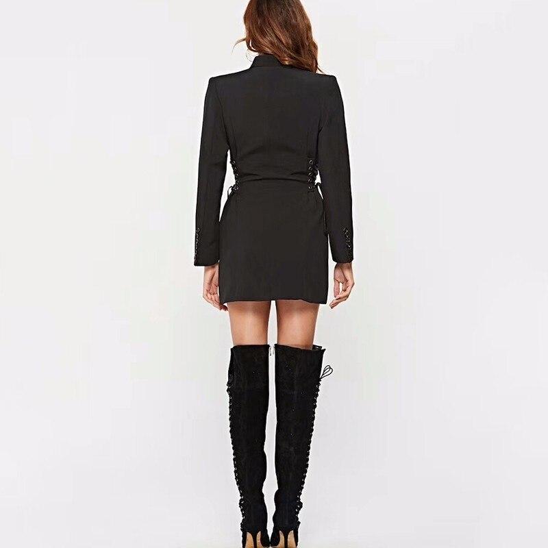 E024 Vêtements Blazer 2018 Dress Femme Costume Longues V Sexy Black Cou Up Mode Robe À Automne Taille Dentelle Ras Femmes Du Haute Manches Robes Mini wUxB6S