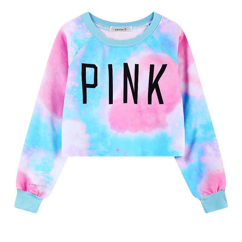 Women's long sleeved women's new long sleeved students exposed navel pink short round collar and women's tops