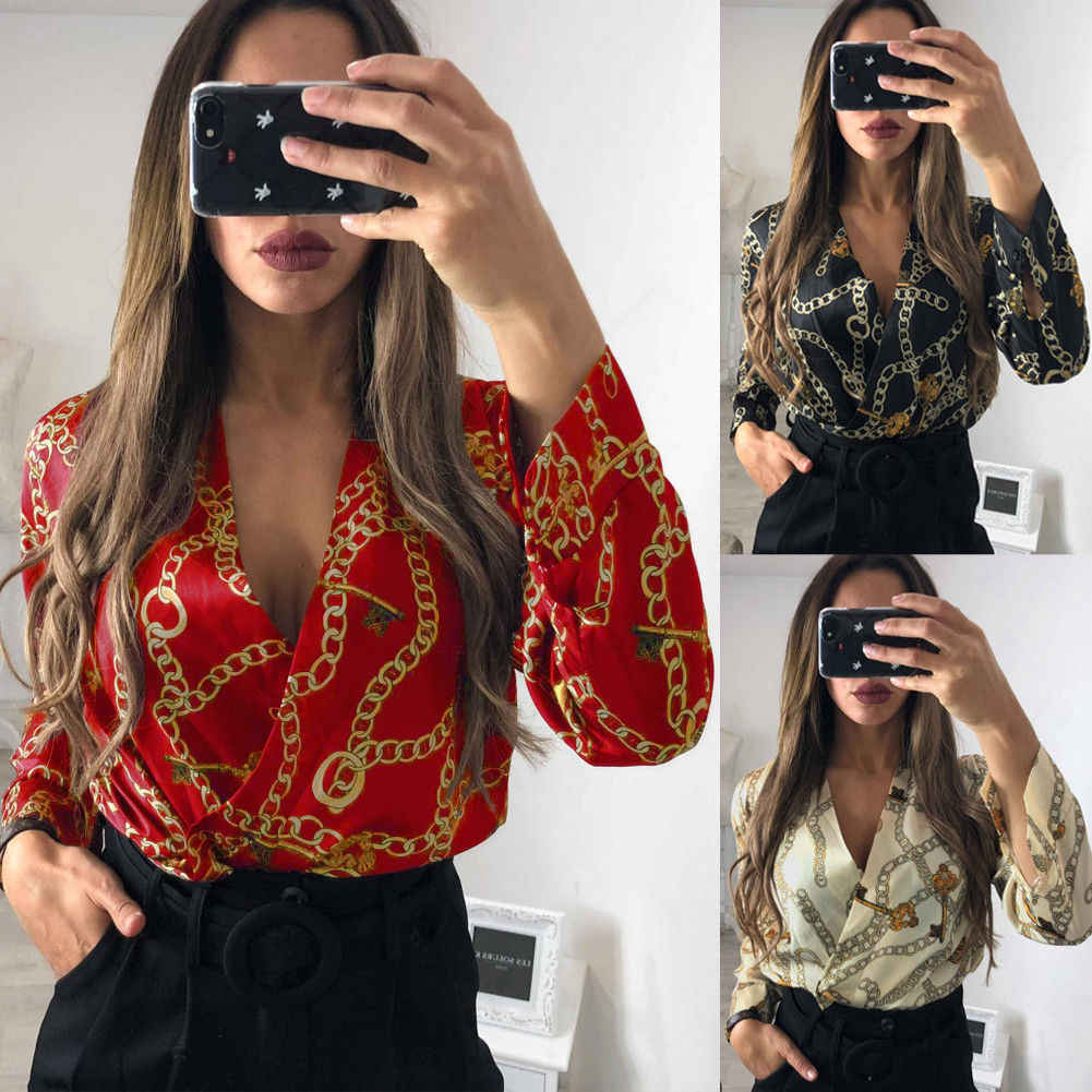 Women Autumn Long Sleeve Sexy Deep V-Neck Jumpsuit Spring Ladies Casual Bodysuit Romper