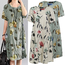 Celmia Plus Size Summer Dress 2019 Women Casual Short Sleeve Loose Vintage Floral Printed Dresses Female Beach Vestidos 5XL