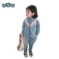 2019 Spring Autumn Kids Boys Girls Casual Long sleeved Zipper Coat + Long Pant 2 Pieces Set Patchwork Children Tracksuit