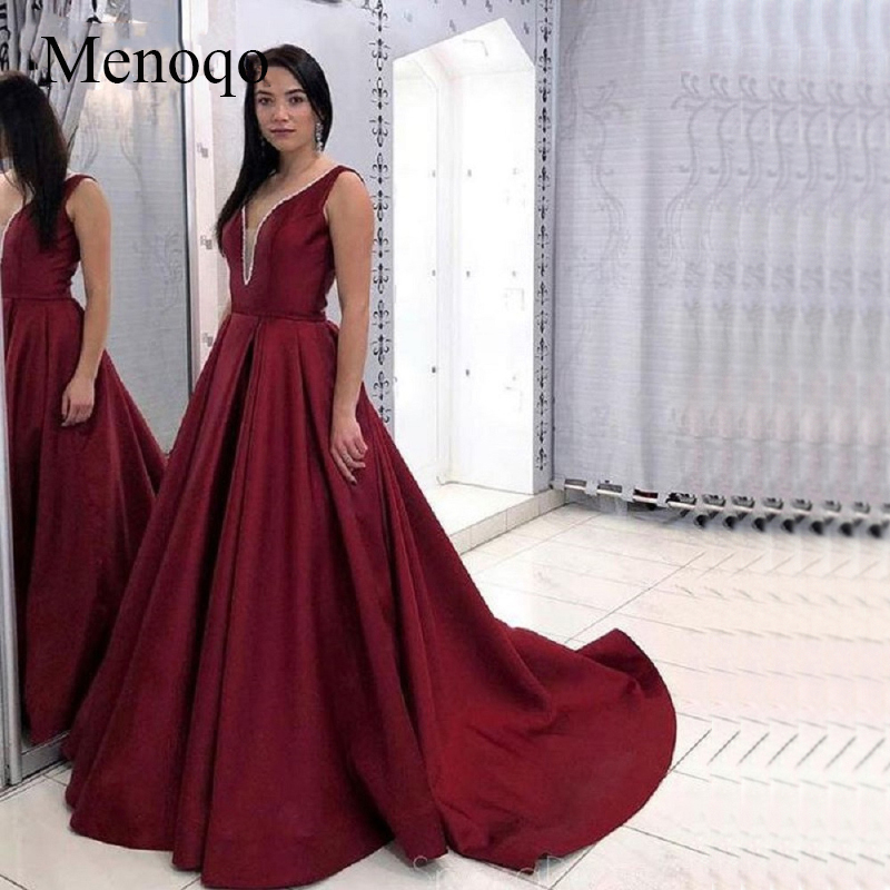Menoqo Elegant Robe de soiree 2019 Sexy Backless   Evening     Dress   For Party Gown Burgundy Long Train   Evening     Dress   Custom Made