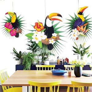 Tropical Party Hawaiian Decorations 3pcs Hanging Paper Fans Flamingo Toucan Palm Leaves Pattern Summer Birthday Luau Party Decor(China)