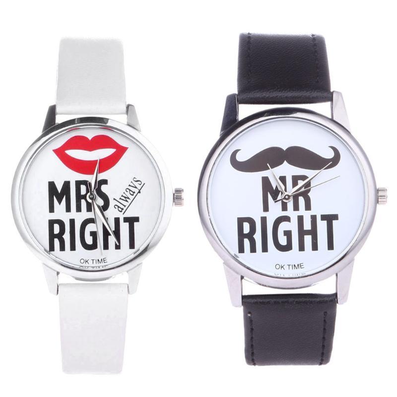 2019 Couple Lovers Men Women Watches Mrs and Mr Right Ladies Watch Bracelet Beard Lips Quartz Wristwatch Lovers Clock