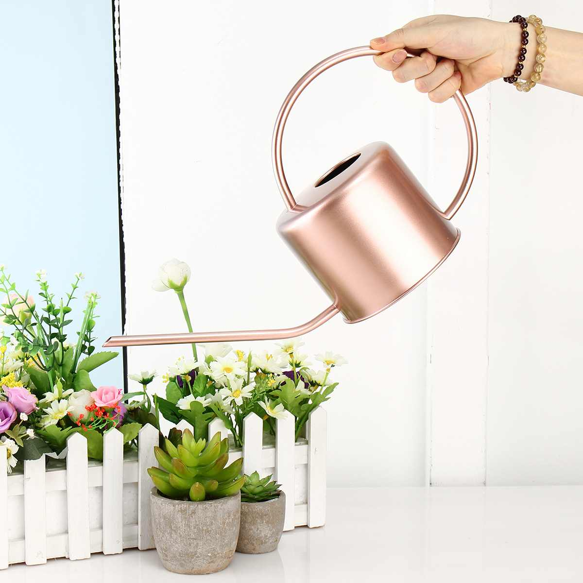 Watering-Can Flower Mouth-Garden-Tool Stainless-Steel Long Metal for Home Easy-Use-Handle