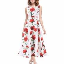Платья для выпускного вечера с цветочным принтом, элегантные вечерние платья трапециевидной формы с круглым вырезом без рукавов, летние пляжные платья Noble Weiss