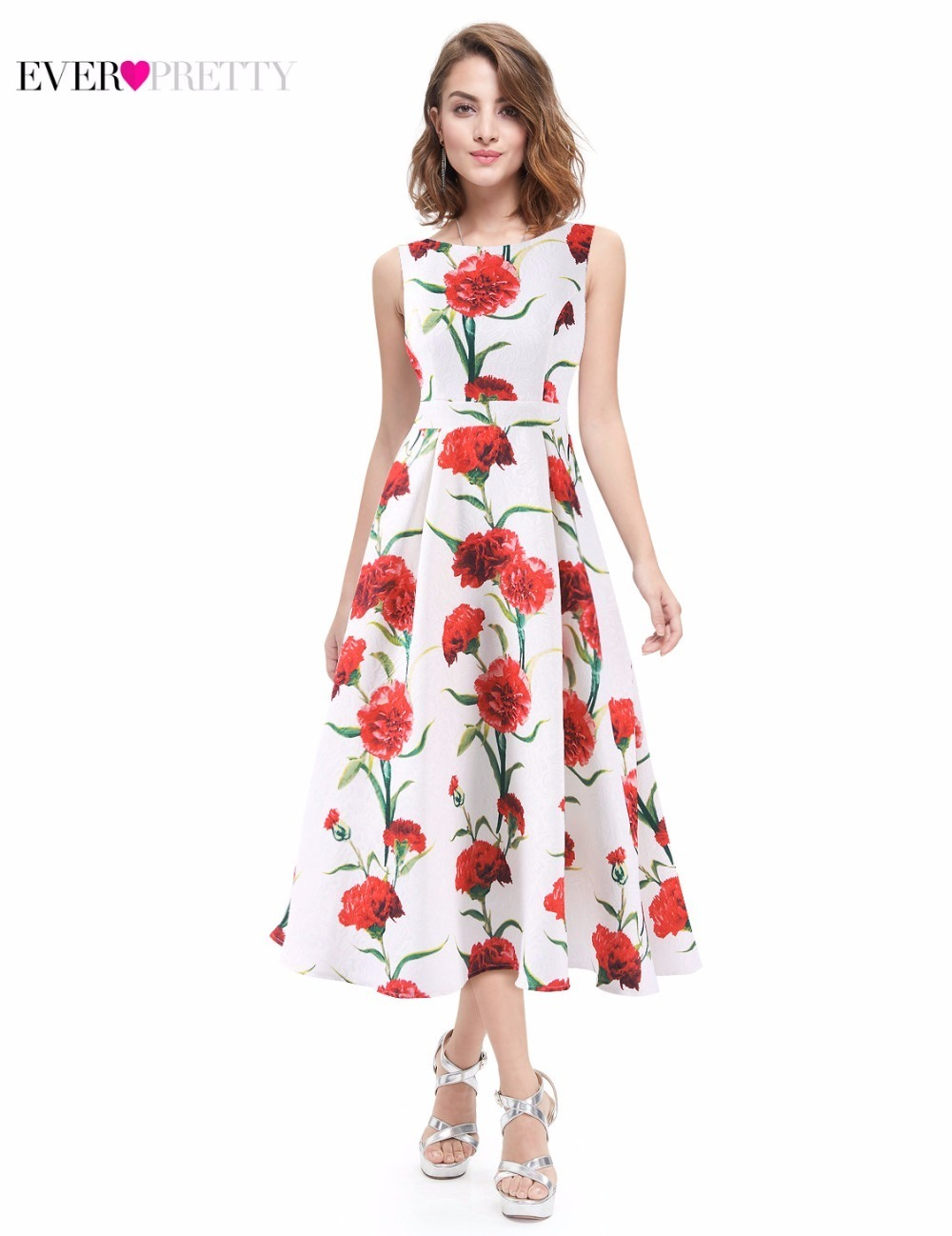 Floral Print Prom Dresses Ever Pretty A-Line O-Neck Sleeveless Elegant Formal Party Dresses Summer Beach Dresses Noble Weiss